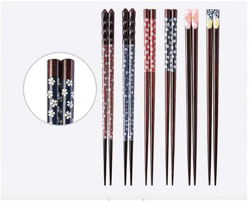 XinQing Chopsticks Japanese Chopsticks Set 6 Pairs, Pointed Chopsticks, Household Color Separation Design, Asian Tableware (Color : A)