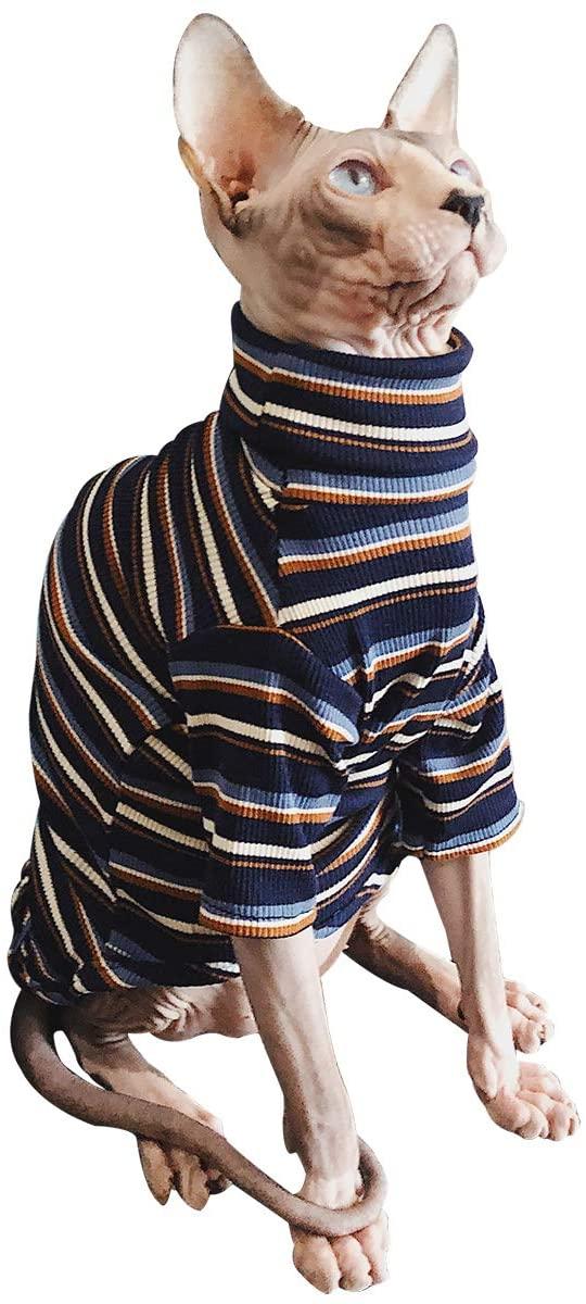 Bonaweite Hairless Cats Stripe T-Shirt, Breathable Cat Wear Clothes Vest Shirts for Sphynx, Cornish Rex, Devon Rex, Peterbald