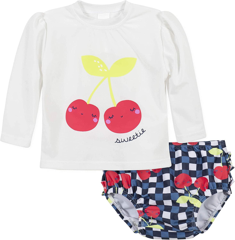 Gerber Girls' Baby Toddler Long Sleeved Rashguard Swim Bathing Suit Set, Cherry, 6-9 Months