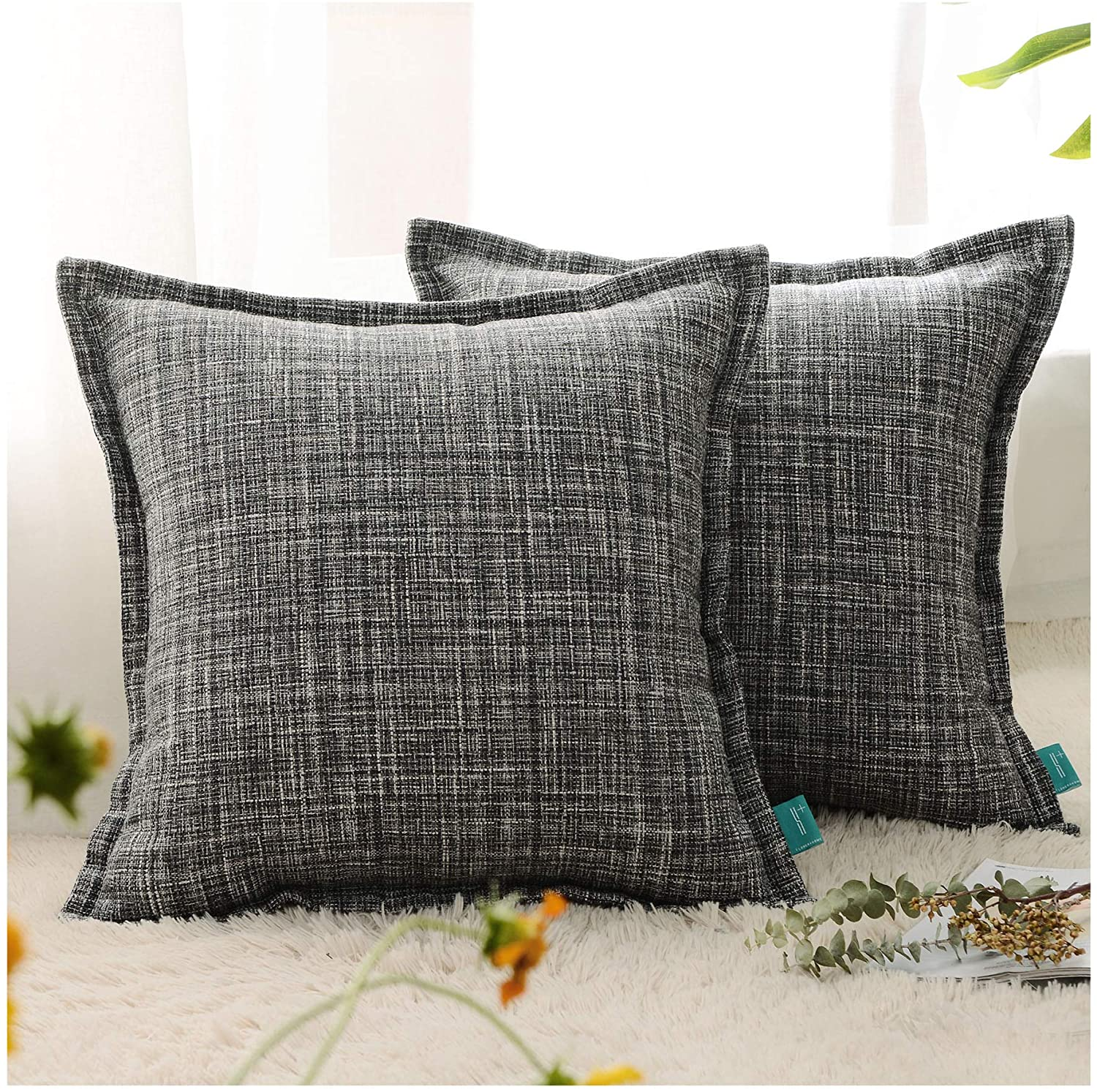 HPUK 16x16 Inch Burlap Linen Look Pillow Cover Modern Farmhouse Pillowcase 2 Pack for Couch, Sofa, Bed, Outdoor, Grey