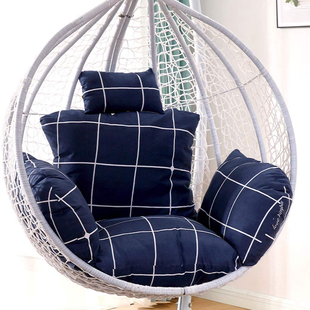 Cushion YJLJL Lattice Swing Chair Thickened Hanging Egg Chair Sofa Type Removable and Washable Office Balcony Single Outdoor Chair 22 22 14 Inch 26 26 18 Inch YJLJL