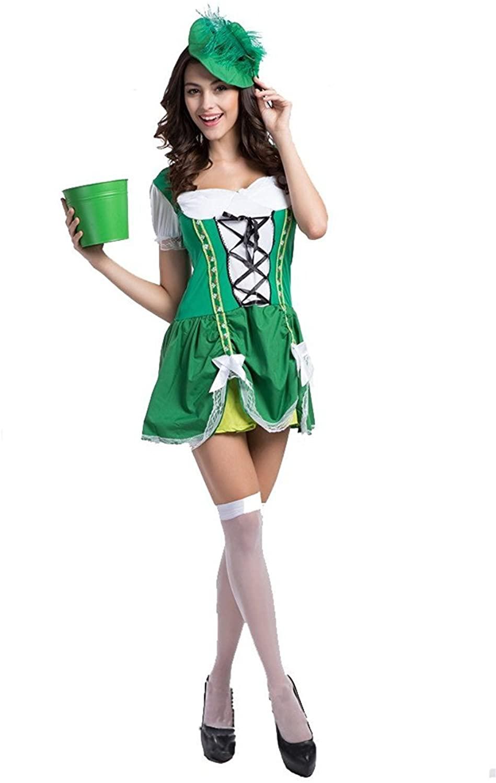 Oktoberfest New Women Bartenders Serving beer Costume Masquerade party Wear (L)