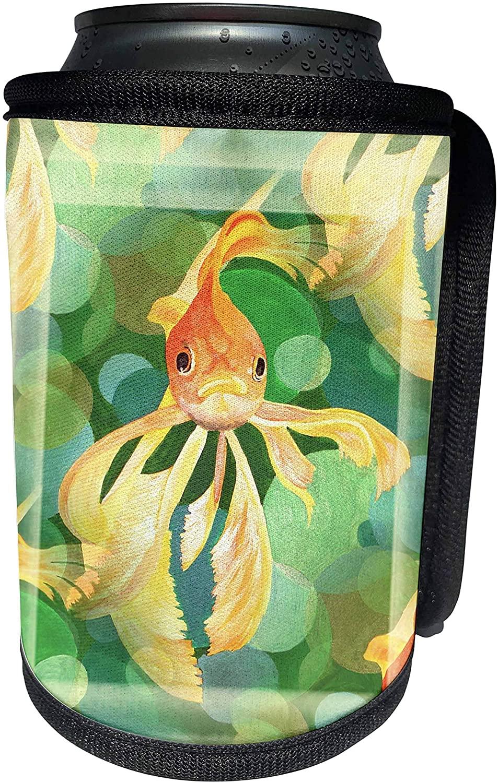 3dRose Taiche - Acrylic Painting - Fish - Vermillion Goldfish- fantail, goldfish, ryukin, metallic scales, fancy goldfish, fantailed - Can Cooler Bottle Wrap (cc_48488_1)