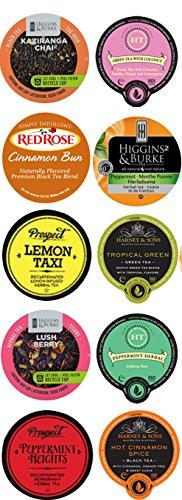 10 Cup Flavored TEA Sampler. 10 unique Tea flavors - Hot Cinnamon, Coconut, Tropical Green +