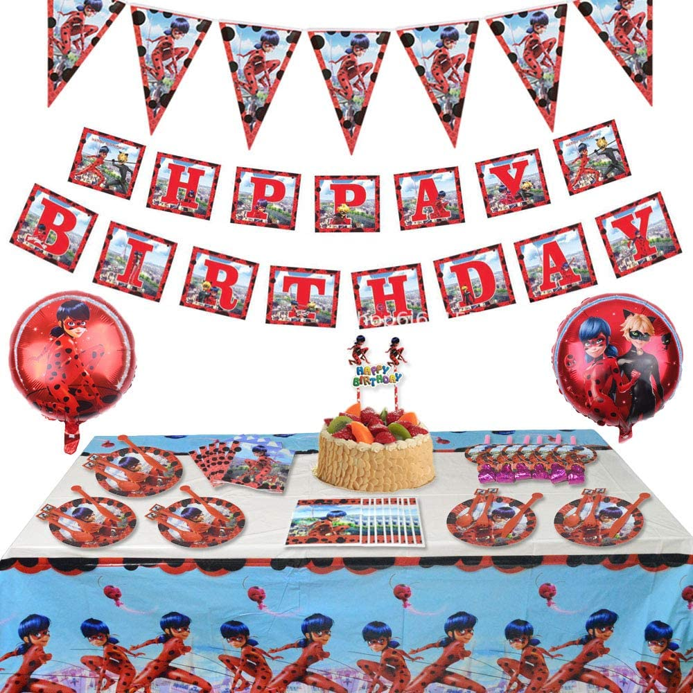 121 Pcs Miraculous Ladybug Party Supplies Birthday Decorations Favors Set for Girls Baby Shower Boy Classic Birthday Includes Tableware Kit Blowing Dragon Balloons Table Cloth Plates Cupcake and Banner for 10 Kids 4th 5th Under13