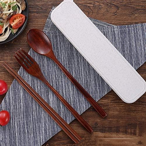 RuiXia Chopsticks - Portable Chopsticks Spoon Suit, Wooden Household Utensils, Wooden Spoon Fork Chopsticks Students Pretty