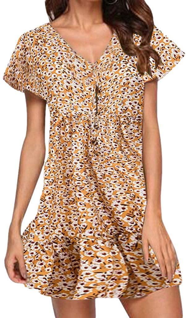 LENXH Ladies Dress Ruffle Sleeve Skirt Deep V Dress Print Dress Stitching Dress Short Sleeve Dress