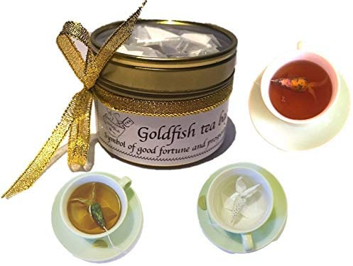 Unique Tea gifts 3 Goldfish tea bags EARL GREY & ROSE Novelty gifts for women Lucky Fish Good Luck gifts for friends Novelty Tea set, Luxury Tea set, Office Unusual Gifts Christmas gifts for friends