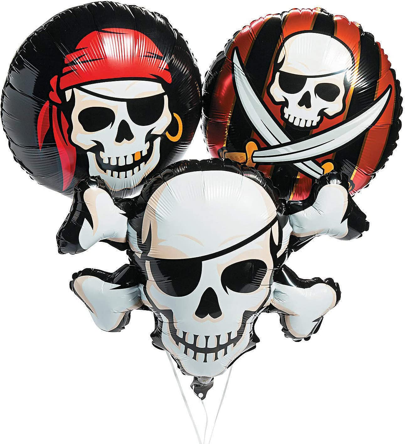 Fun Express Pirate Mylar Balloon Set | 3 Count | Great for Party Decor, Themed Birthday, Halloween Party