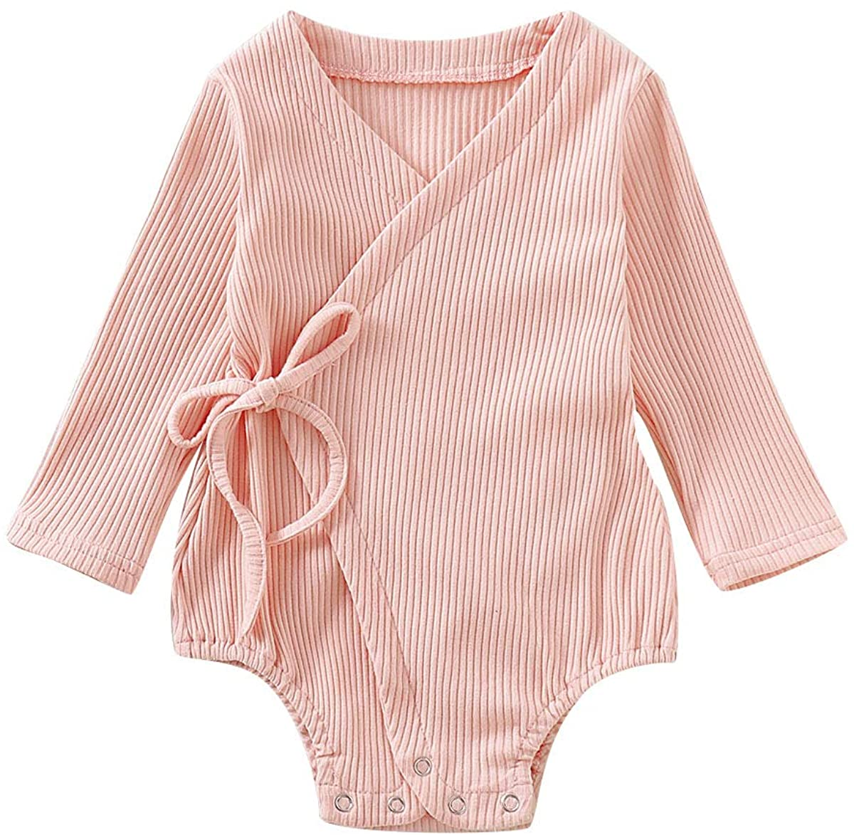 YOUNGER TREE Newborn Infant Baby Girl Romper Linen Cotton Kimono Bodysuit Sleeveless Jumpsuit Summer Clothes (12-18 Months, Pink # A)