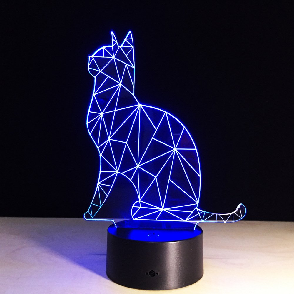 LED Night Light with Cute cat Pattern,7 Colors Changing with USB Cable,Touch Remote Control, Best for Children Gift Baby Bedroom and Party Decorations.
