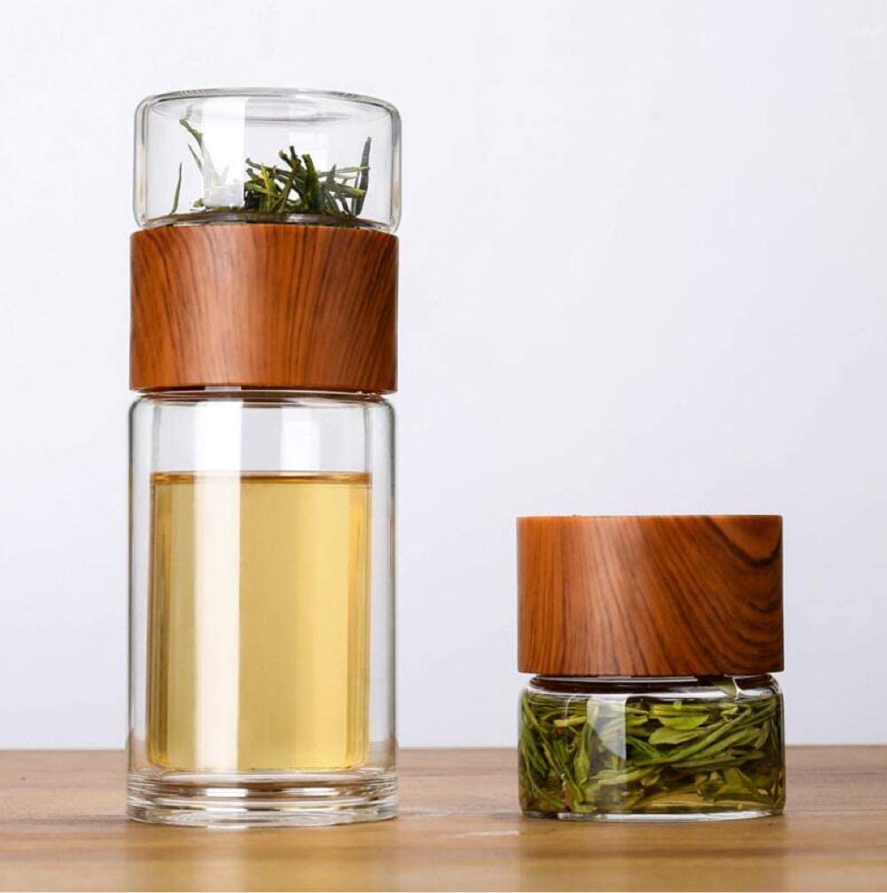 Portable Double Wall Glass Tea Infuser- 7 oz Travel Mug with strainer,Stainless Steel Filter, Portable Glass Water Bottle, BPA Free