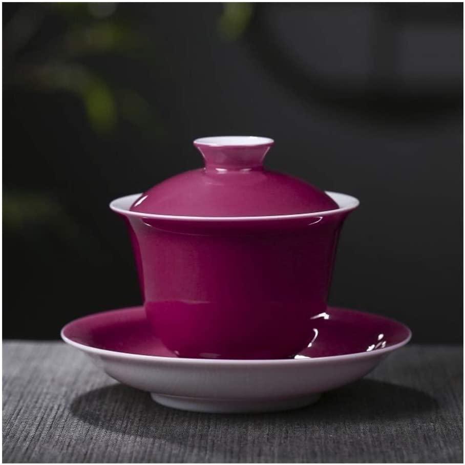 MADONG Hand-color glaze ceramic tureen with God Carmine tea bowls kung fu tea (Color : Red)