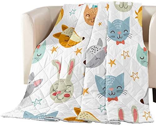Fandim Fly Summer Bedspread Thin Comforter Cartoon Fox and Cat for Kids Super Soft Lightweight All Season Bedding Quilt Throw Blanket 64