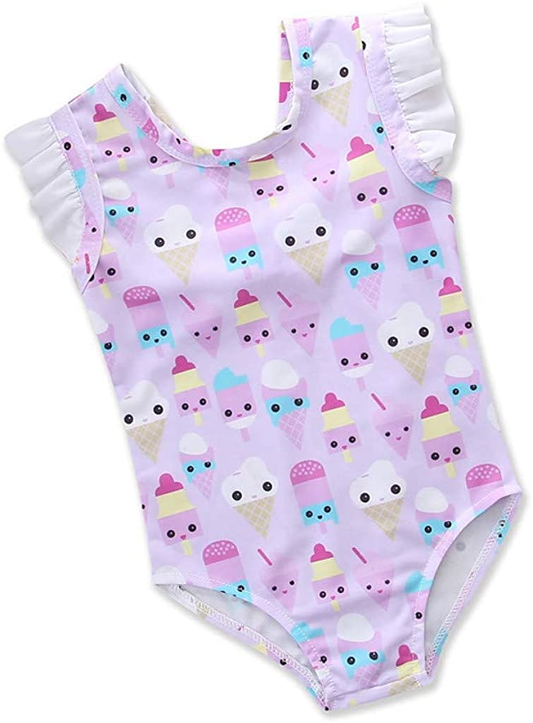 WARMSHOP Toddler Baby Romper Swimwear Kids Ice-Cream Cartoon Printed Ruffle Off Shoulder Swimsuit Beachwear