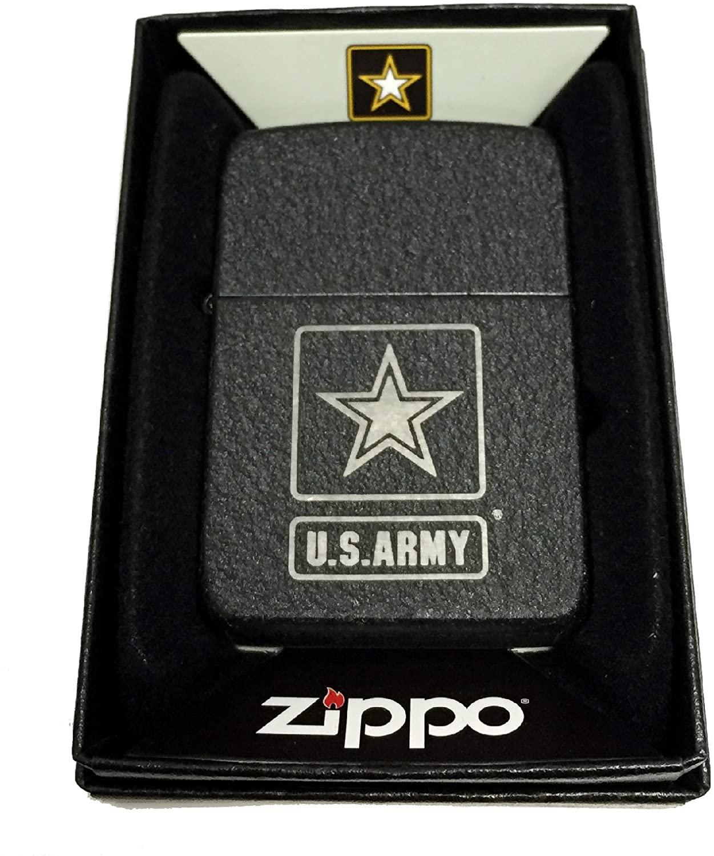 Zippo Custom Lighter - U.S. Army Silver Star Primary Logo - 1941 Black Crackle