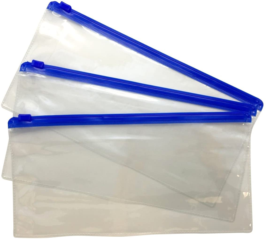 Pack of 12 DL Blue Zip Zippy Bags - Document Clear Plastic Transparent Storage Wallet by Janrax