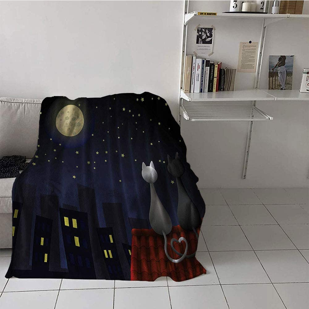Children's blanket Digital Printing Blanket (35 By 60 Inch,Animal Kids Ba,Cute Sweet Kitten Cats on Roof with Love Moonshine and Stars Girls Boys Fabric for Nursery Daycare,Dark Blue Red Gray Yellow)