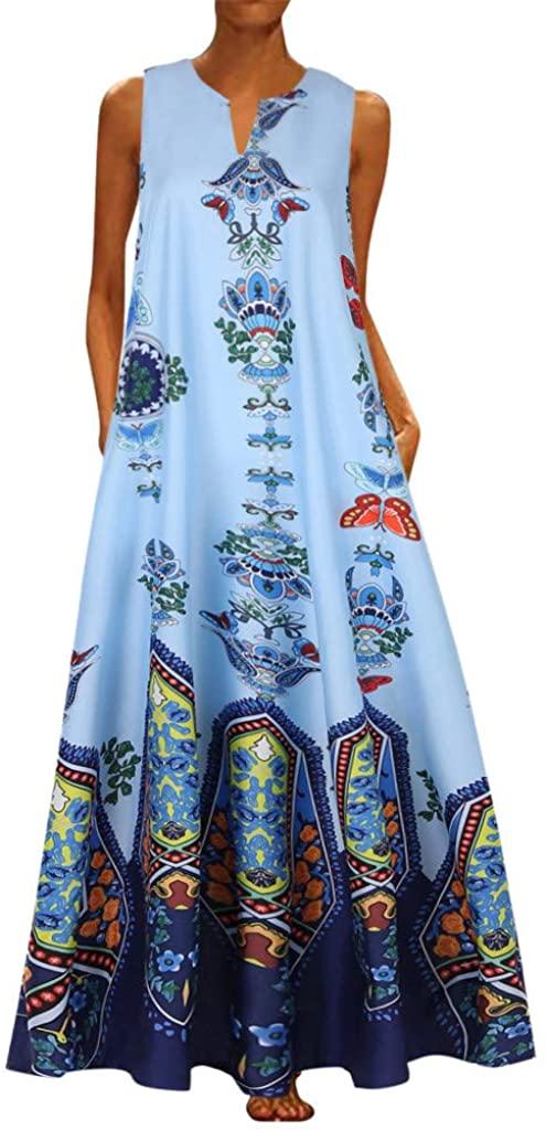 Women Plus Size Vintage Bohemian Print Sleeveless V Neck Maxi Dress
