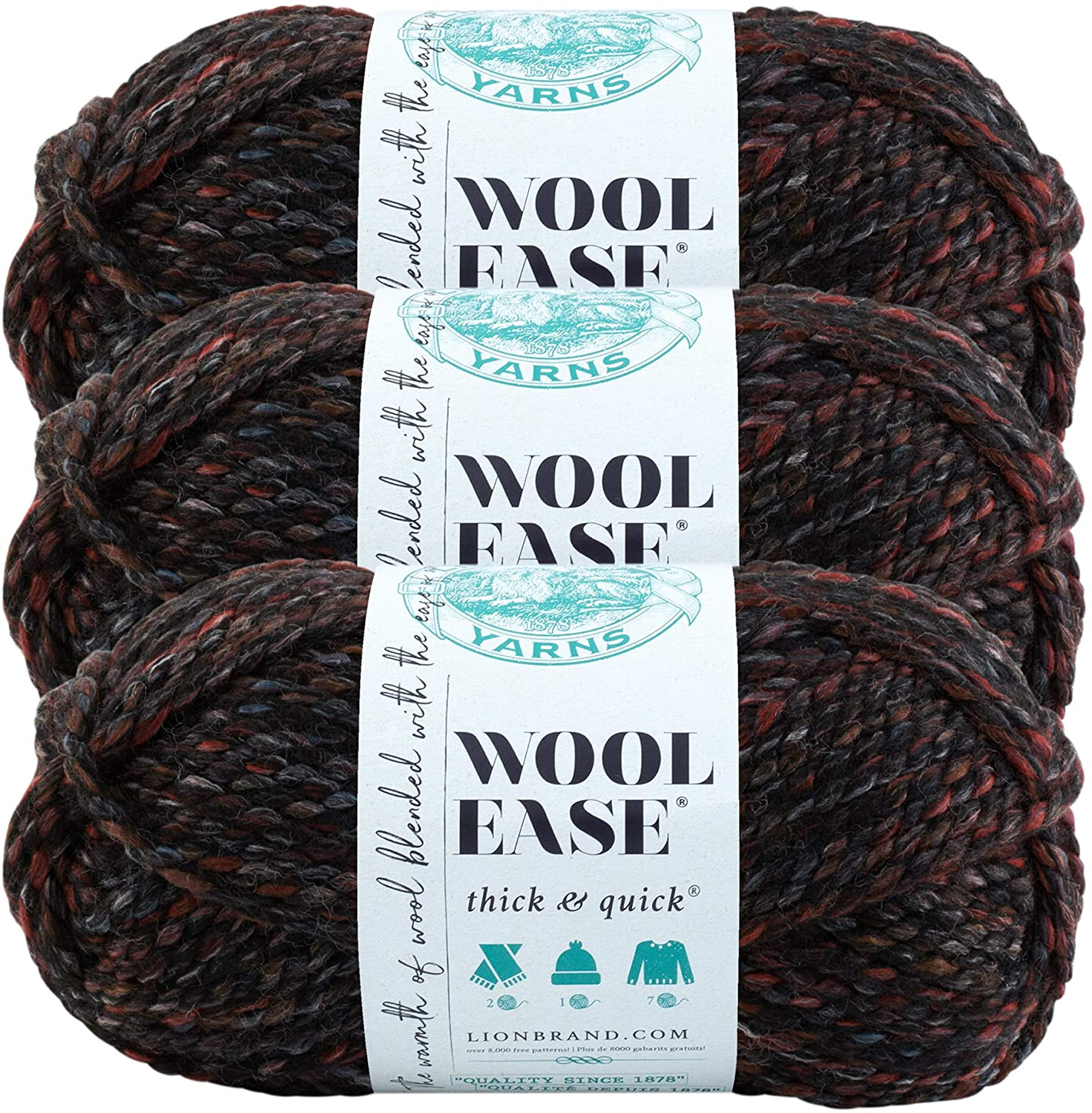 (3 Pack) Lion Brand Yarn 640-506 Wool-Ease Thick and Quick Yarn, Blackstone
