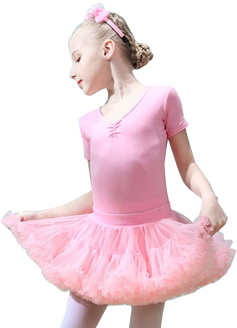 SHENLINQIJ Girls Ballet Dress Short Sleeve Dancewear Party with Tutu Skirt