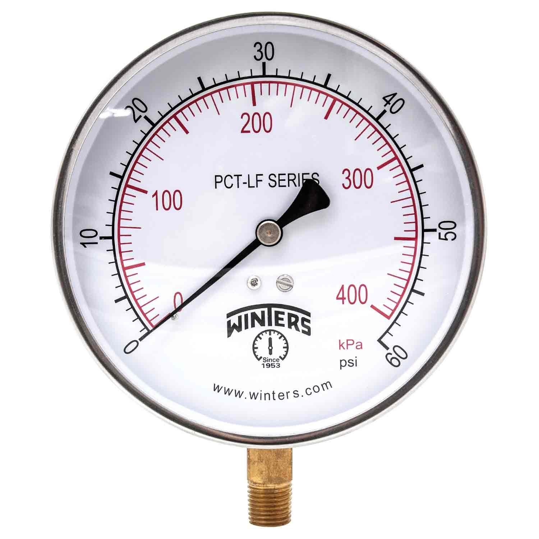 Winters PCT322LF PCT-LF Series Pressure Gauge, 4.5