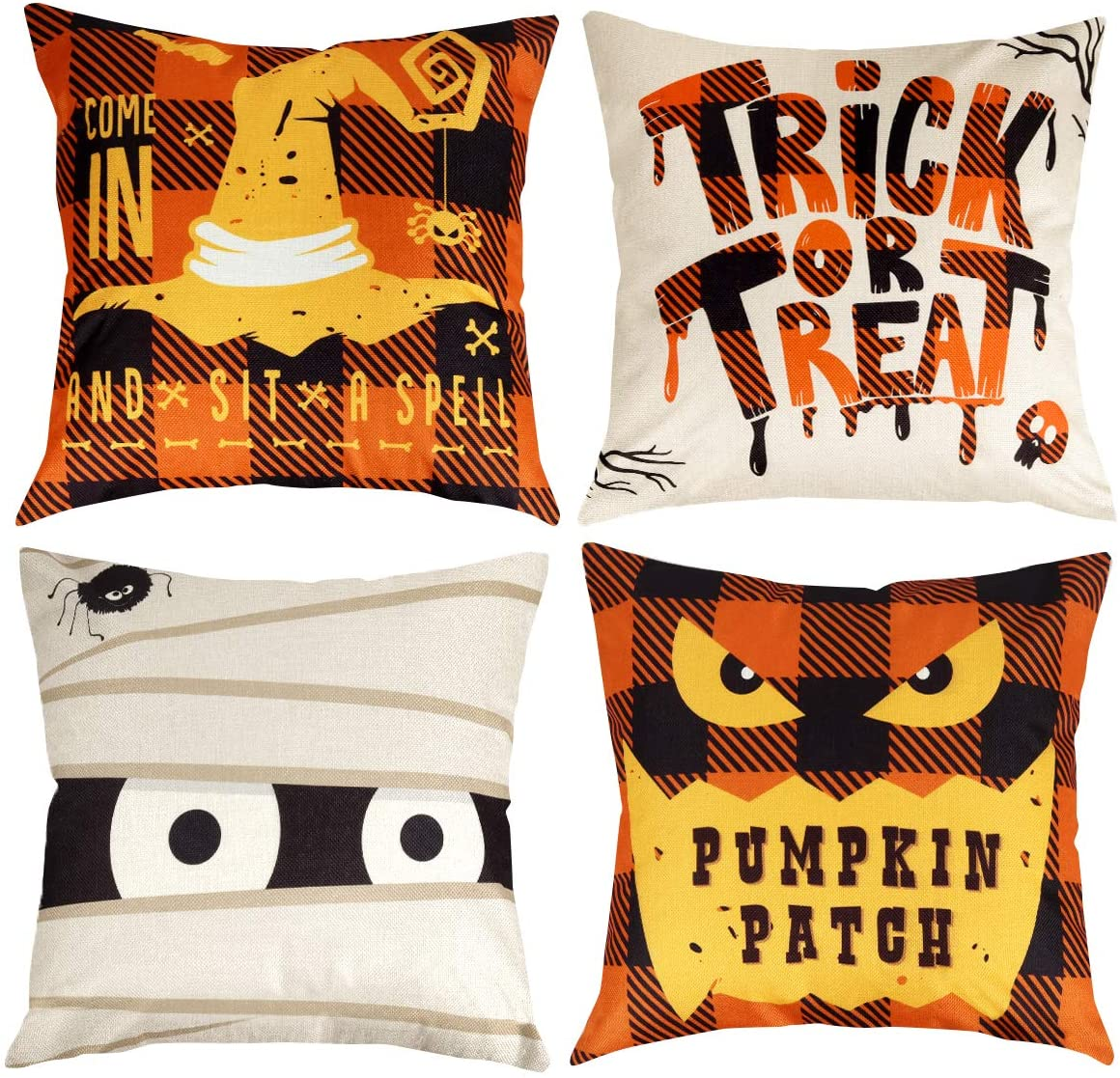 D-FantiX Halloween Pillow Covers 18x18 Inch Happy Halloween Decorations Throw Pillow Cover Set of 4 Square Linen Sofa Bed Cushion Pillow Case Decor
