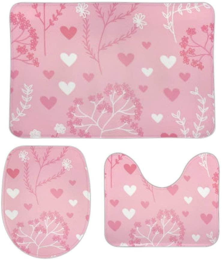 Yilooom 3 Pack Bath Mat Set, Pretty Pink Romantic Floral Pattern Absorbent Memory Foam Soft Shower Bath Rugs Contour Mat and Lid Cover,Non Slip Velvet Bathrug,Shower Toilet Bathmats Carpet