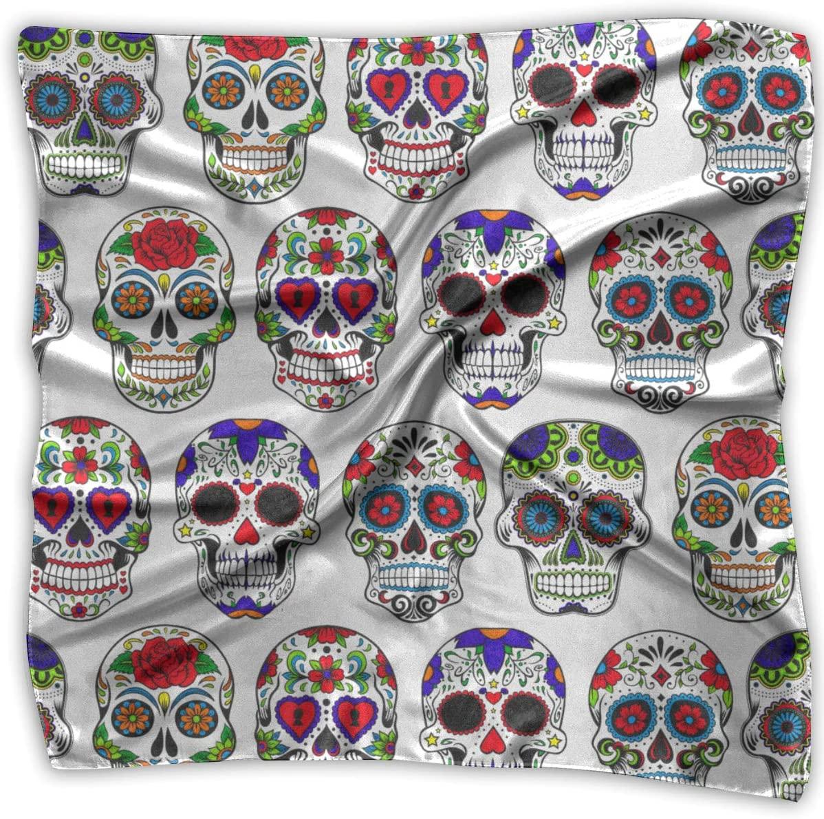 WFIRE Day of The Dead Sugar Skull Flower Art Square Handkerchiefs Scarf Shawl Bandanas Headscarf Neckerchief