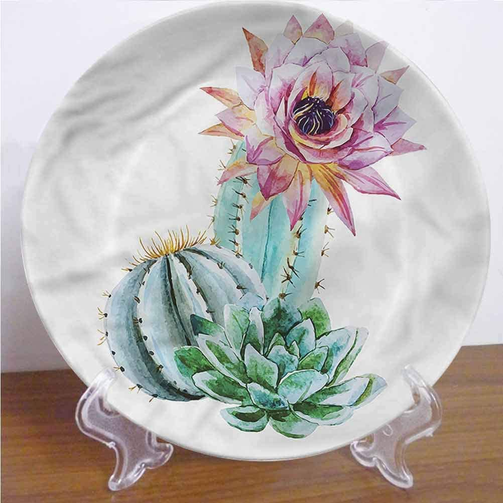 Channing Southey 8 Inch Cactus 3D Printed Decorative Plate,Cactus Flower and Spike Tableware Plate Decor Accessory for Pasta, Salad,Party Kitchen Home Decor