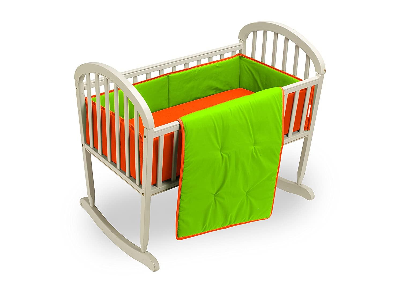 Baby Doll Bedding Solid Reversible Cradle Bedding Set, Orange/Apple