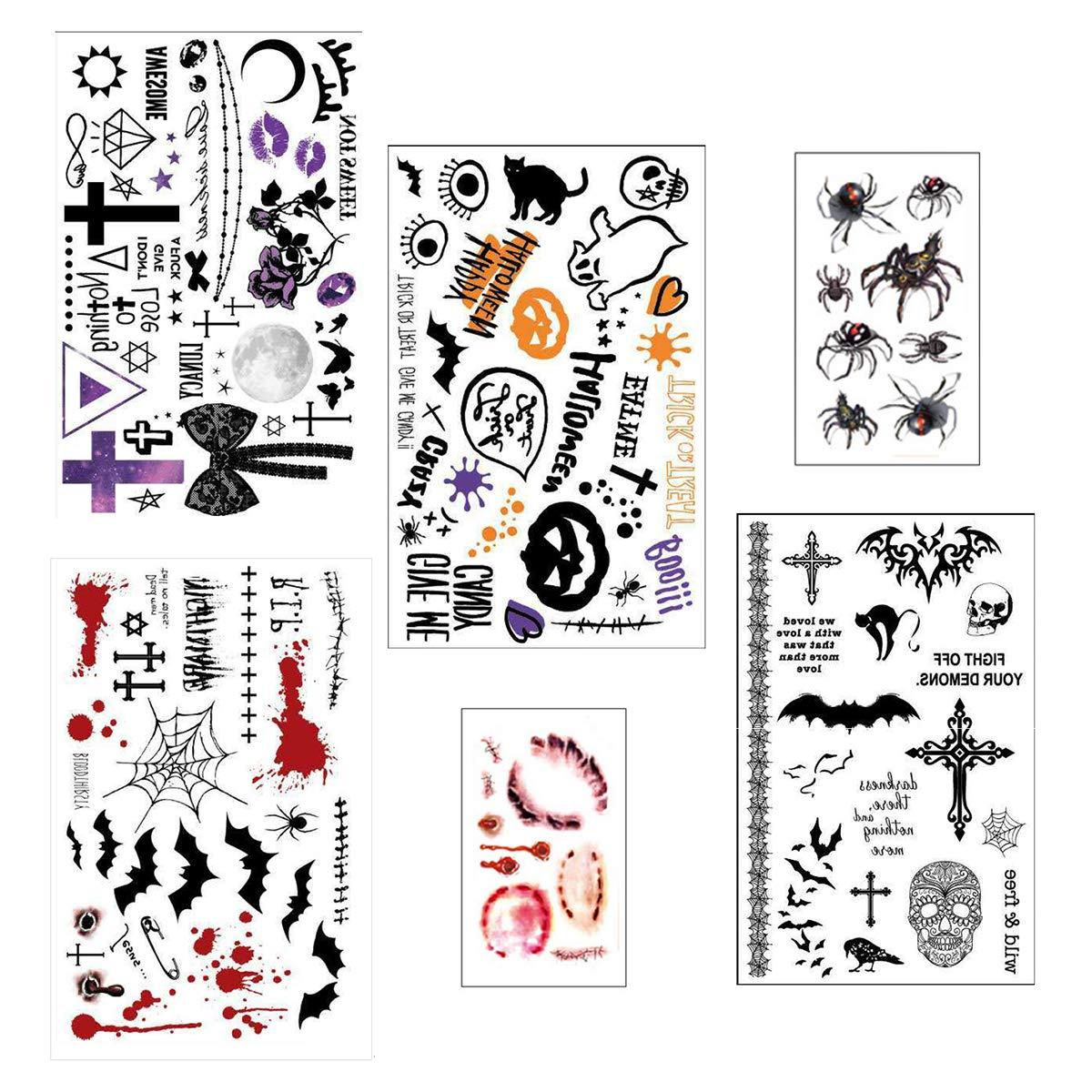 6 Sheets Halloween Temporary Tattoo Stickers For Women & Kids With Skull/Scar/Pumpkin/Cross Designs