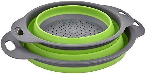 Enkousa Green Collapsible Colander 2 Sets, Kitchen Foldable Silicone Strainer, Environmentally Friendly Non-Toxic Easy to Clean, 2 Sizes Including 8 9.5-Inch