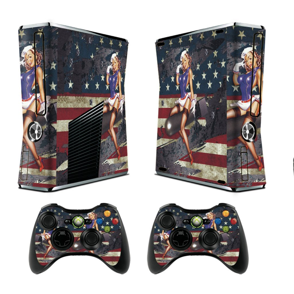 Designer Skin Sticker for Xbox 360 Slim Console with Two Wireless Controller Decals- battle torn strips