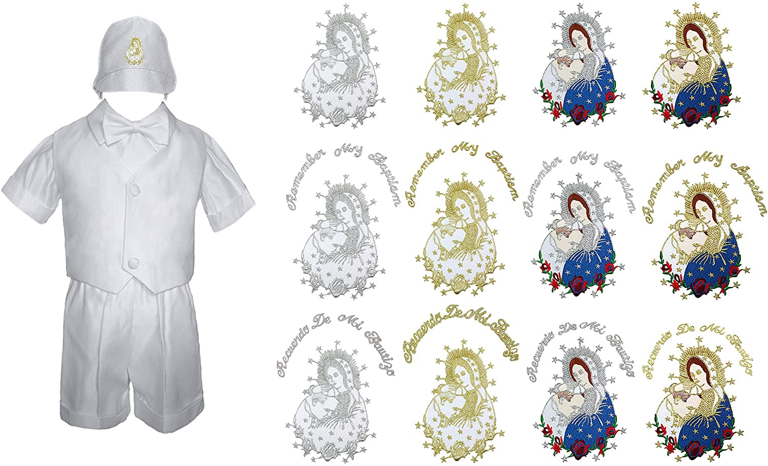 Unotux Baby Toddler Boy Baptism Christening Ceremony Shorts Set Outfits Virgin Mary Pope On Hat New Born-4T