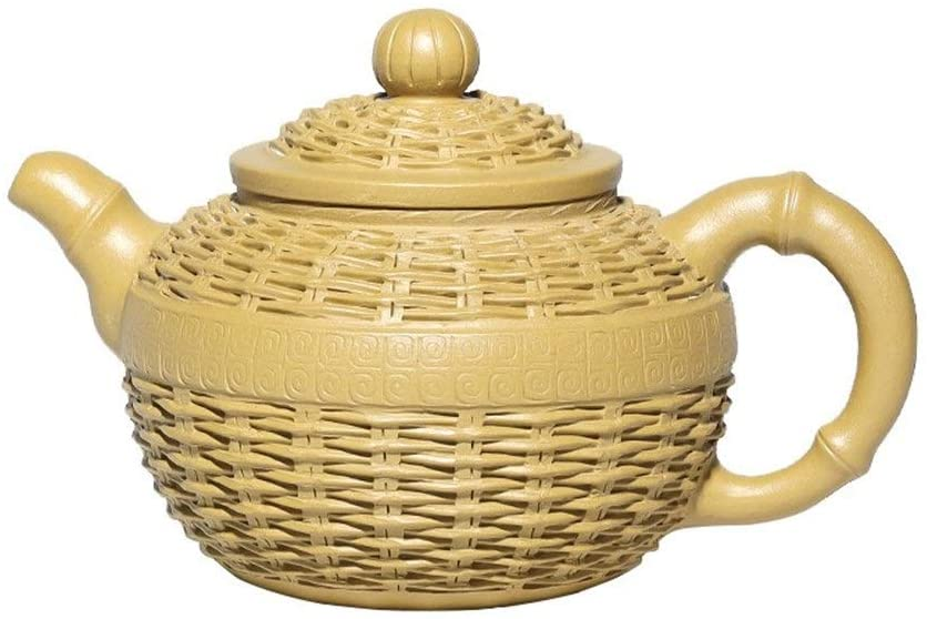 QinMei Zhou Teapot ore segment mud pot tea teapot bamboo products (Color : Yellow)