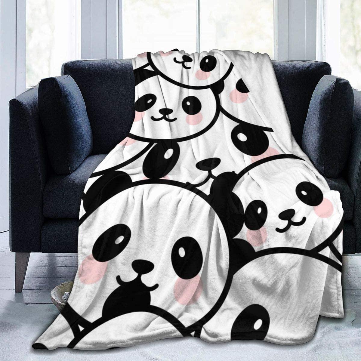 Micro Fleece Plush Soft Baby Blanket Fun Cute Cartoon Panda Face Fluffy Warm Toddler Bed/Crib Blanket Lightweight Flannel Daycare Nap Kids Sleeping Tummy Time Throw Blanket Girls Boy Kid/Baby