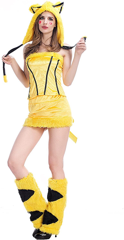 Cute Fashion Pikachu Strapless Plush Halloween Costumes for Women Yellow