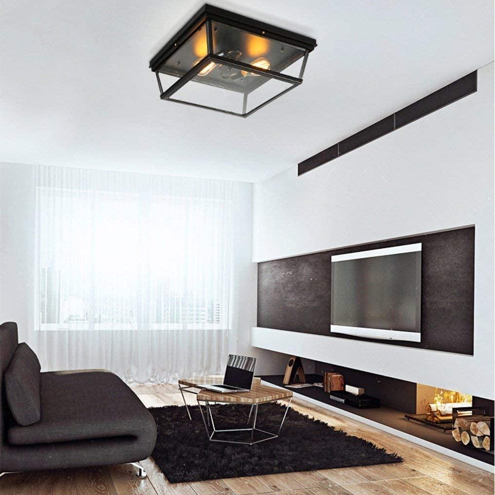 BOSSLV Industrial Retro Ceiling Lamp E27 × 2 Flames Square Transparent Glass Metal Ceiling Light Simplicity Nostalgia Design Ceiling Lighting Max 40W Bedchamber,Black