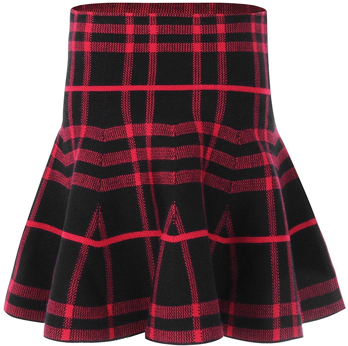 Freebily Girls Stretchy High-Waisted A Line Classic Miniskirt Knitted Flared Pleated Skater for Casual
