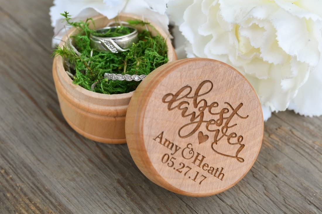 PotteLove Best Day Ever Wedding Ring Box, Customized Wedding Ring Box, Ring Bearer Box for Wedding, Personalized Wedding Ring Holder, Rustic Ring Box