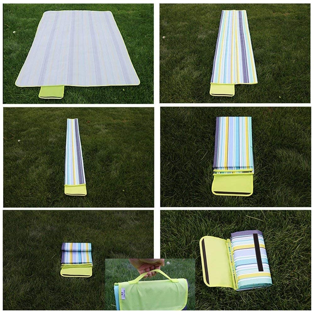 RUGS Picnic Blankets Outdoor Picnic Blanket Waterproof Carpet Cushion Waterproof Applicable Site Lawn Beach,Pink Blue Stripes,200200Cm