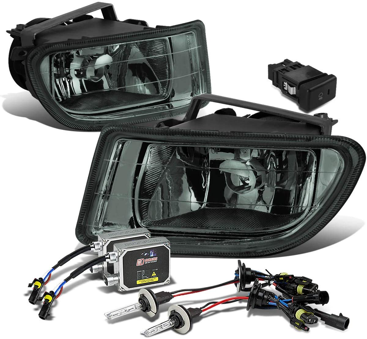 Replacement for Honda Odyssey RL1 Pair of Smoked Lens Bumper Driving Fog Lights + Switch + 4300K HID + Thick Ballasts