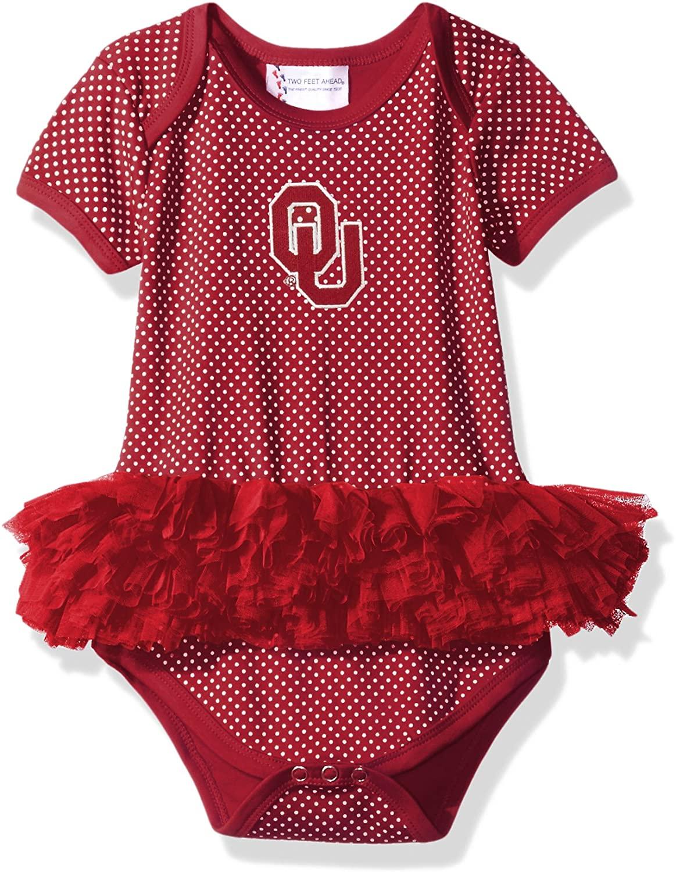 Two Feet Ahead NCAA Oklahoma Sooners Children Girls Pin Dot Tutu Creeper,18 Mo,Crimson