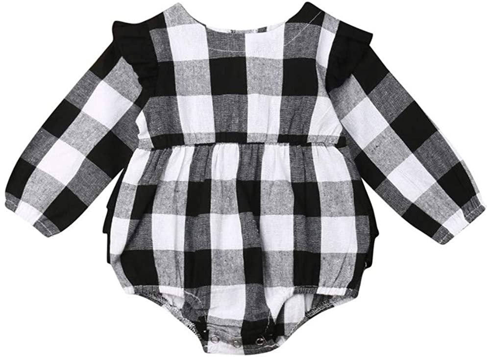 Christmas Infant Baby Girl Boy Buffalo Plaid Ruffle Romper Bodysuit Clothes Outfit