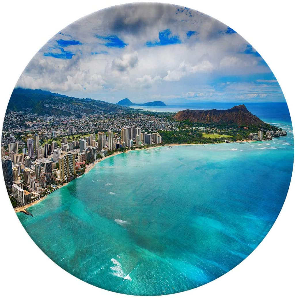 Art Ceramic Dinner Plates,Waikiki Aerial Of Honolulu Hawaii,elegant Round Serving Plates For Appetizers,dessert,salad,snacks,8 Inch 6 Piece Set