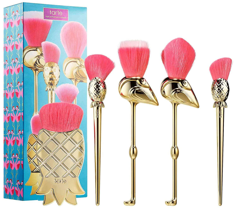 Tarte Let's Flamingle 5 Piece Brush Set Fla-Mingle Inspired by Flamingos & Pineapple