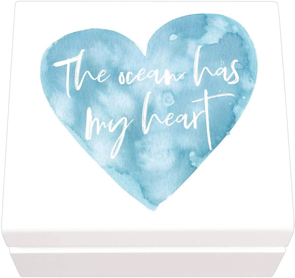 P. Graham Dunn The Ocean Has My Heart Watercolor Nautical Blue 6 x 6 Pine Wood Jewelry Box