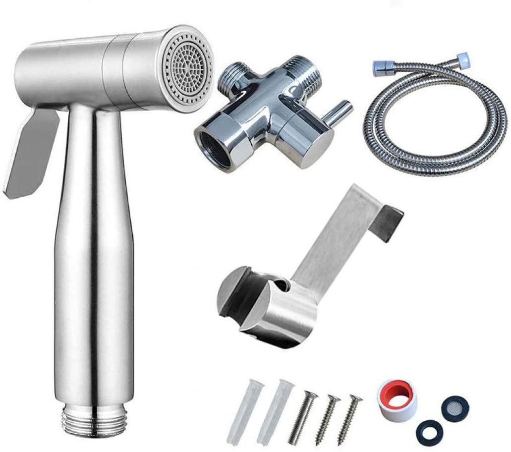 Stainless Steel Toilet Hand Held Bidet Faucet Sprayer Bidet Set Sprayer Gun Toilet Spray for Bathroom Self Cleaning Shower Head