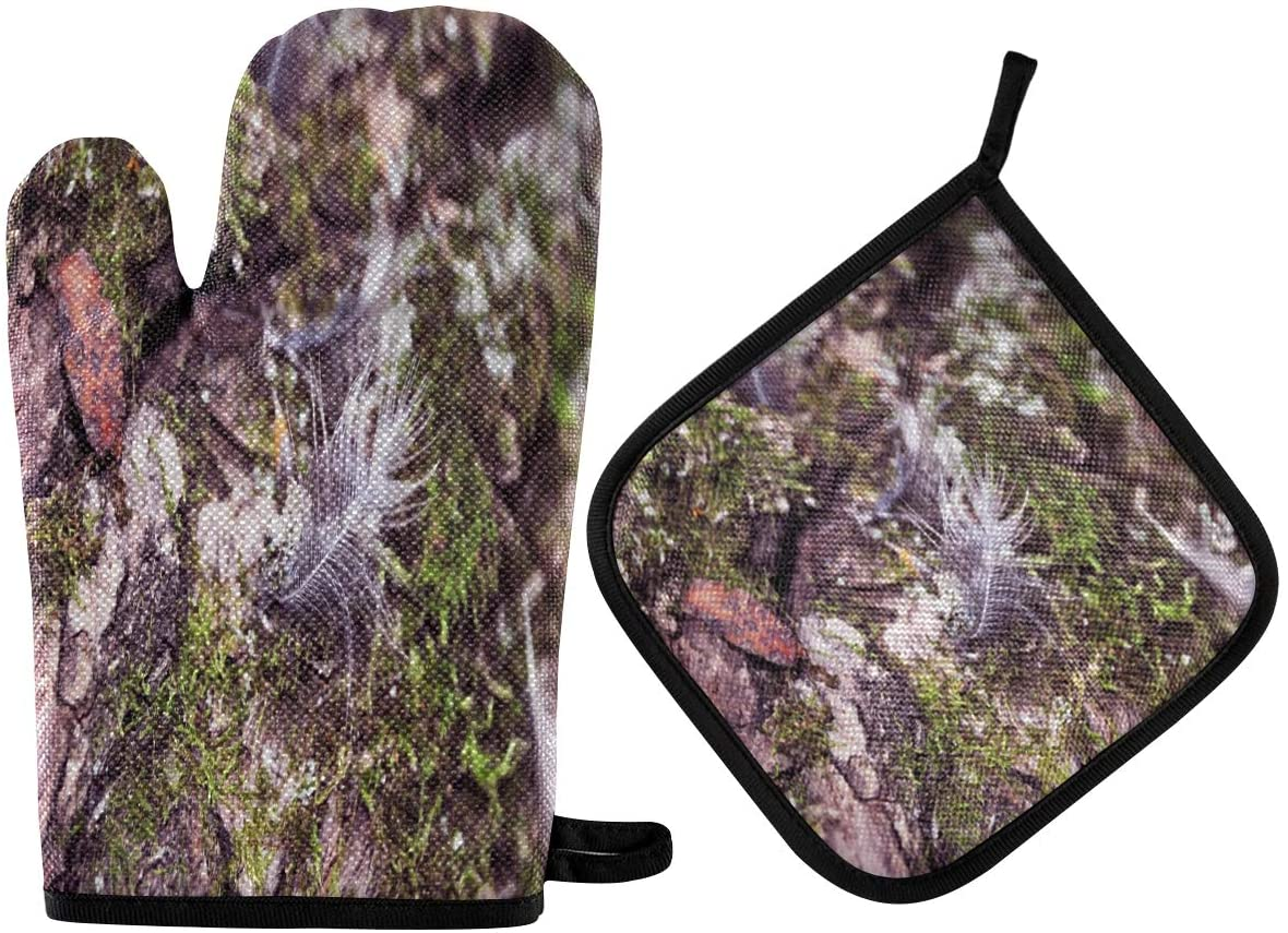 N\ A Special Gray-White Mossy Feather Oven Mitts and Potholder Set-Heat Resistant Oven Gloves to Protect Hands and Surfaces with Non-Slip Grip, Hanging Loop for Handling Hot Cookware Items